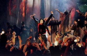 Pop superstar Michael Jackson performs his Earth Song at the Brit Awards ceremony February 19, 1996.